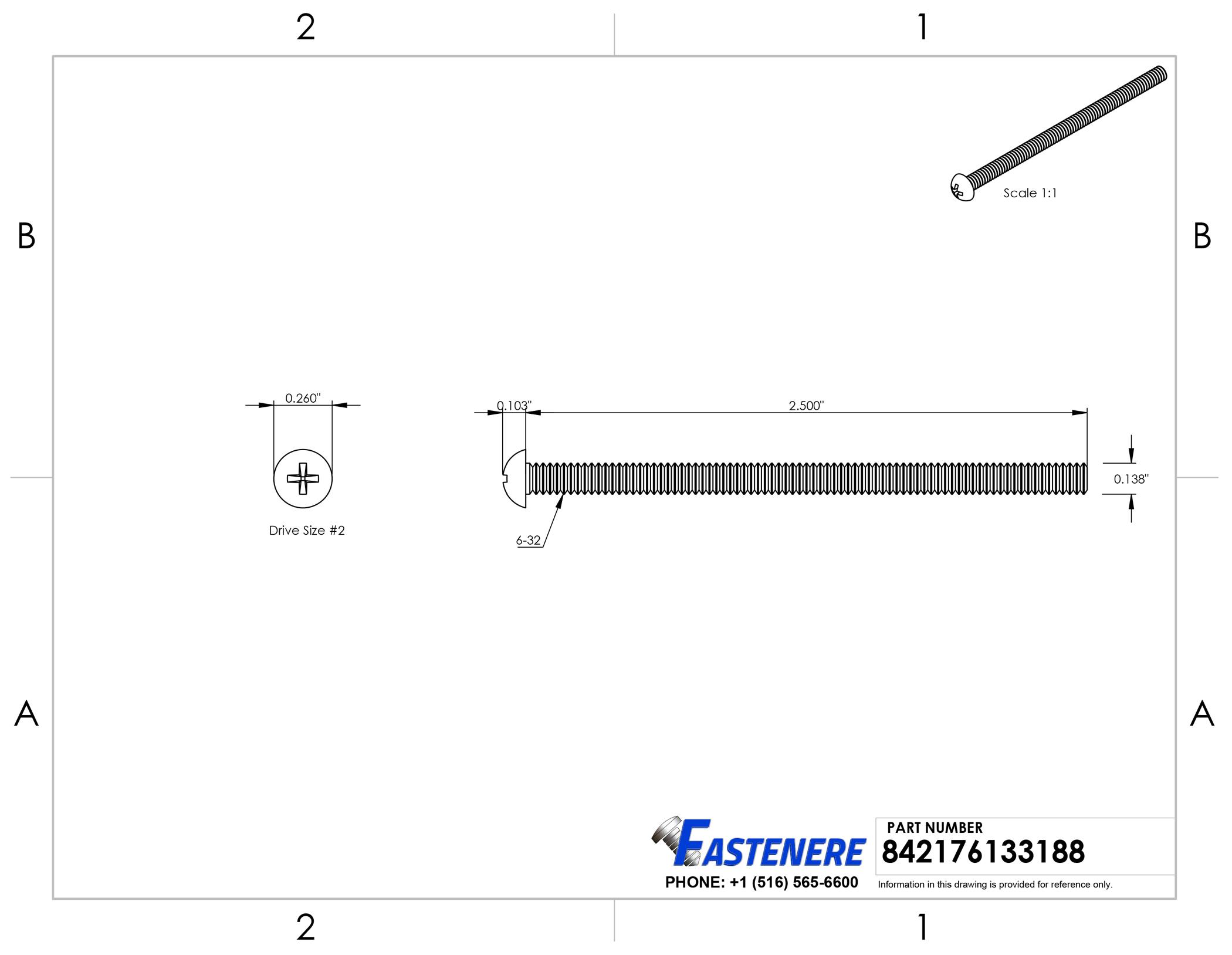 """6-32 x 2-1//2/"""" Phillips Round Head Machine Screws Stainless Steel 18-8 Qty 50"""