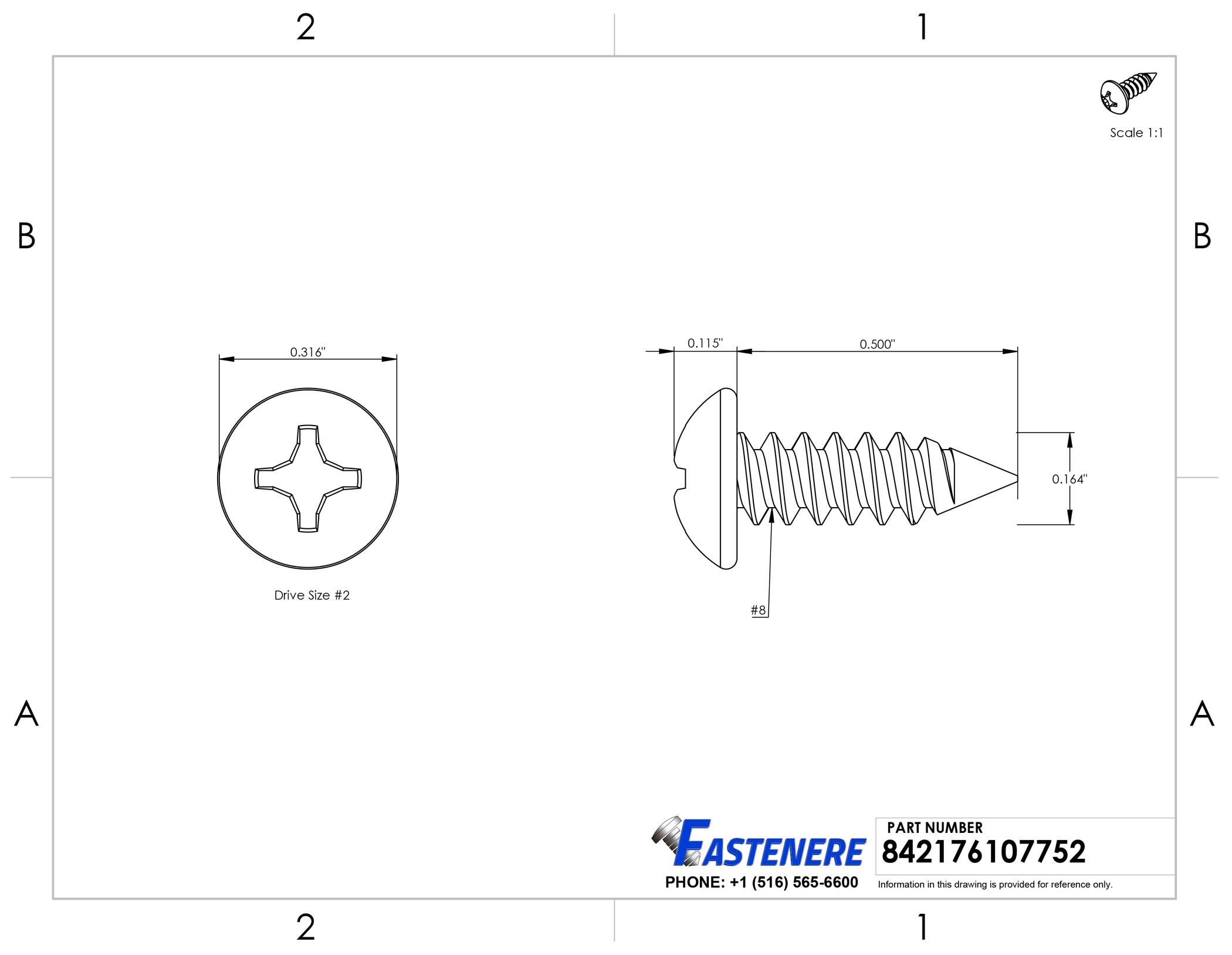 Pan Head Sheet metal Screws 316 Stainless Steel Marine Grade #8X1//2 Qty 100