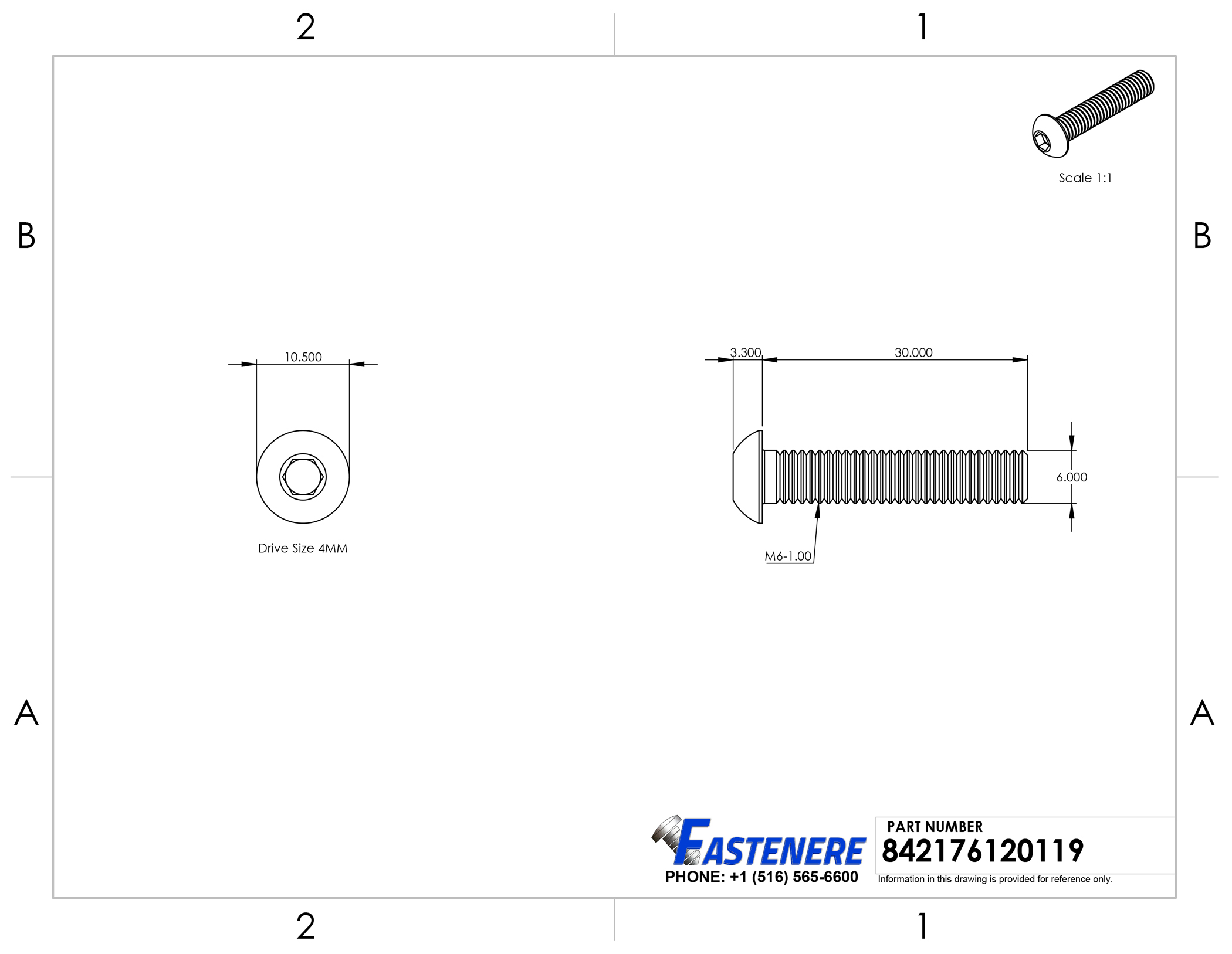 ISO 7380 Allen Socket Drive Full Thread M3-0.50 x 8MM Button Head Socket Cap Screws Flat Point Stainless Steel 18-8 Plain Finish Quantity 100 by Fastenere